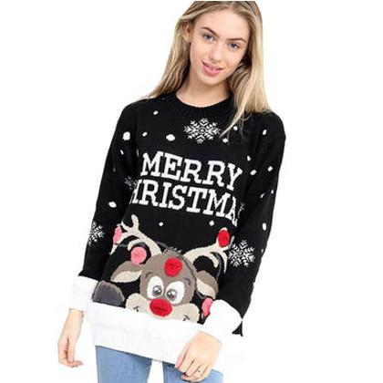 rudolf svart pom jultröja