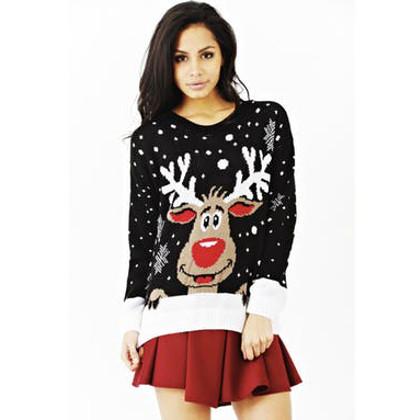rudolf-motiv jultröja svart